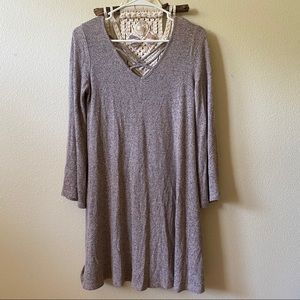 🟣 TAUPE BELL SLEEVE DRESS